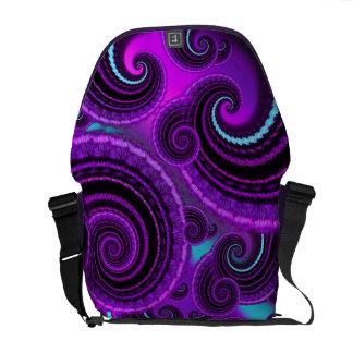 Funky Purple Swirl Fractal Art Pattern Courier Bags