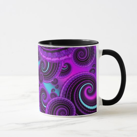Funky Purple Swirl Fractal Art Pattern Mug
