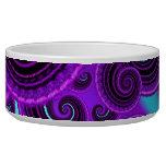 Funky Purple Swirl Fractal Art Pattern Pet Food Bowls