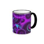 Funky Purple Swirl Fractal Art Pattern Ringer Coffee Mug