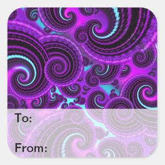 Funky Purple Swirl Fractal Art Pattern Square Sticker