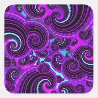 Funky Purple Swirl Fractal Art Pattern Square Stickers