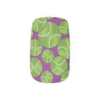 Funky purple tennis balls minx nail art