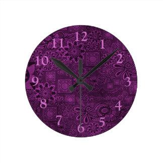 Funky purple texture round clocks