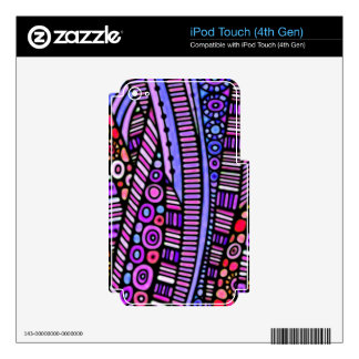 Funky Purple Tribal Pattern Decal For iPod Touch 4G