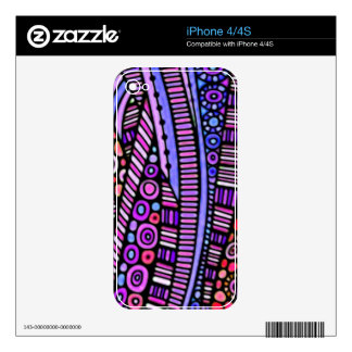 Funky Purple Tribal Pattern Decals For The iPhone 4