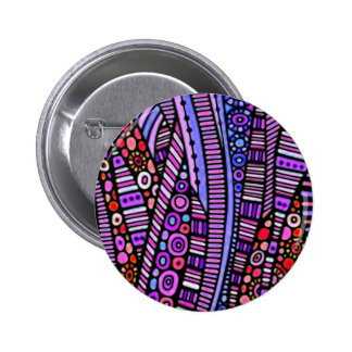 Funky Purple Tribal Pattern Pinback Button