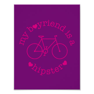 funky quotes my boyfriend is a hipster poster