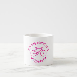 funky quotes my boyfriend is hipster espresso cup