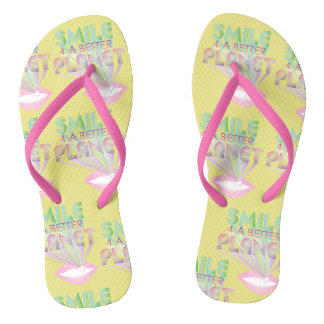 funky quotes smile 4 a better planet flip flops