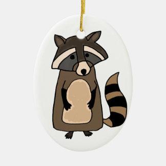Funky Raccoon Cartoon Ceramic Ornament