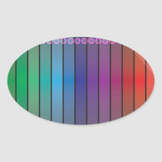 Funky Rainbow Abstract Oval Sticker