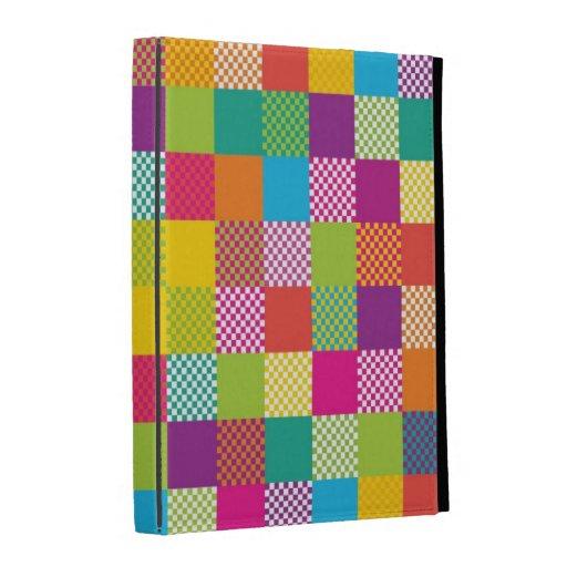 funky rainbow checkered blocks iPad folio cases