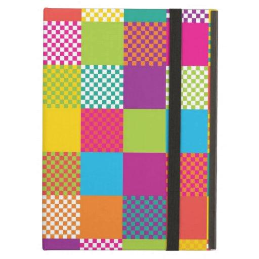 funky rainbow checkered blocks iPad case
