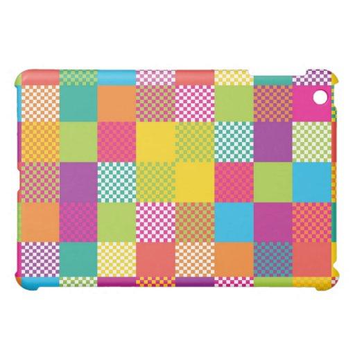 funky rainbow checkered blocks iPad mini cover