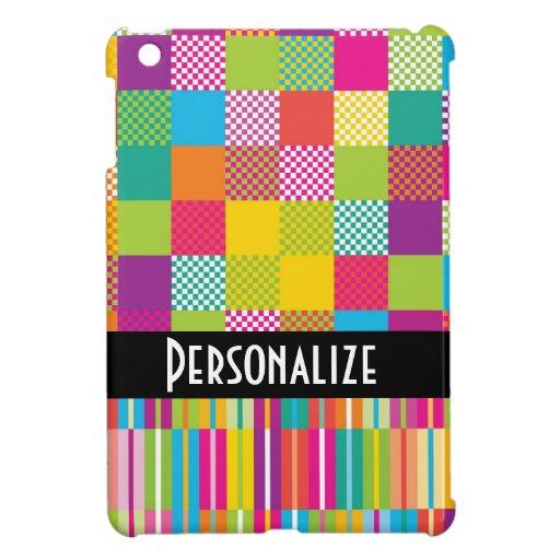 funky rainbow checkered blocks cover for the iPad mini