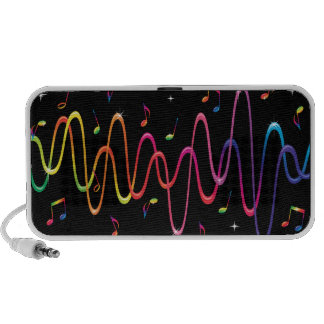 Funky rainbow colored sound waves and musical note iPhone speaker