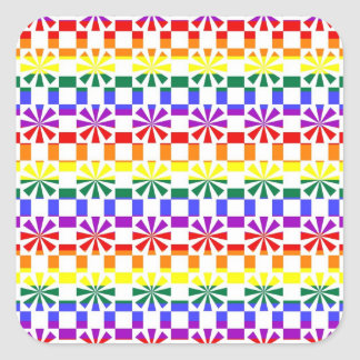 Funky Rainbow Gay Pride Geometric Abstracts (5) Square Stickers