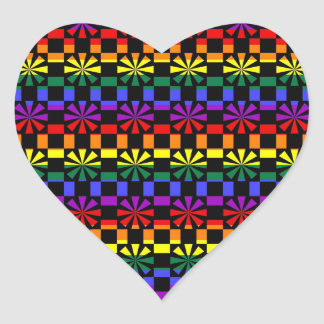 Funky Rainbow Gay Pride Geometric Abstracts (6) Heart Sticker
