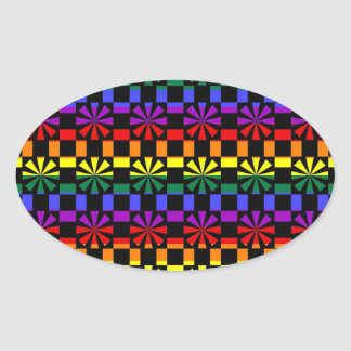 Funky Rainbow Gay Pride Geometric Abstracts (6) Stickers