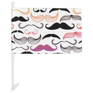 Funky Rainbow Mustache Design Car Flag