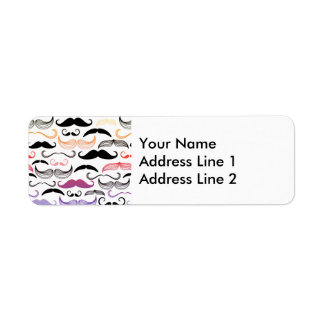 Funky Rainbow Mustache Design Label