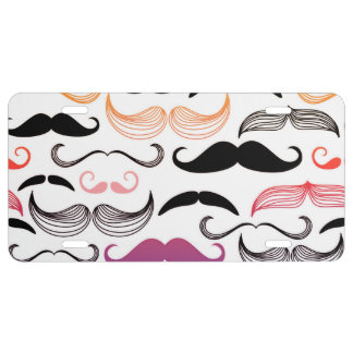 Funky Rainbow Mustache Design License Plate