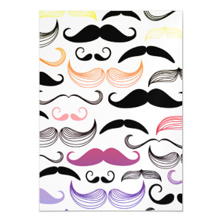 Funky Rainbow Mustache Design Magnetic Card