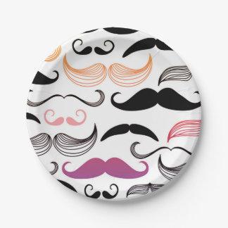 Funky Rainbow Mustache Design Paper Plate