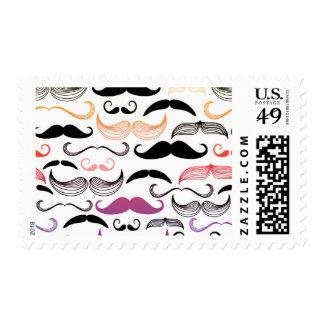Funky Rainbow Mustache Design Postage