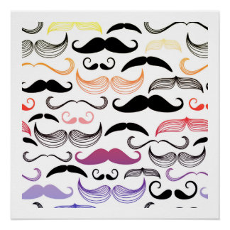 Funky Rainbow Mustache Design Poster
