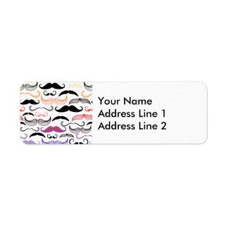 Funky Rainbow Mustache Design Return Address Label