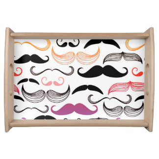 Funky Rainbow Mustache Design Serving Tray