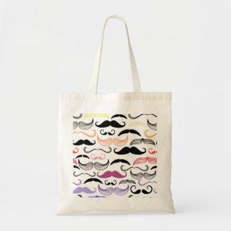 Funky Rainbow Mustache Design Tote Bag