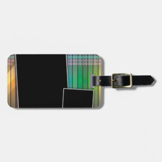Funky rainbow page layout bag tag