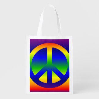 Funky Rainbow Peace Symbol Grocery Bag