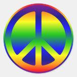 Funky Rainbow Peace Symbol Stickers
