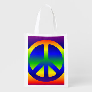 Funky Rainbow Peace Symbol Grocery Bags