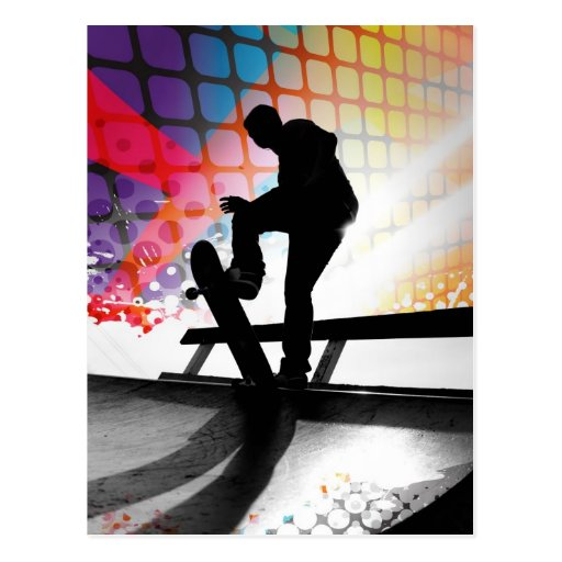 funky rainbow skater abstract postcard