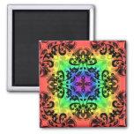 Funky rainbow square damask fridge magnet