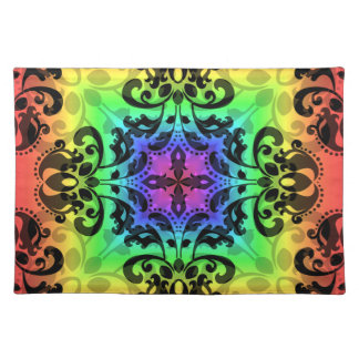 Funky rainbow square damask placemat