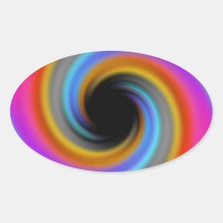 Funky Rainbow Swirl Design Oval Sticker