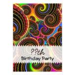 Funky Rainbow Swirl Fractal Art Birthday Invitation