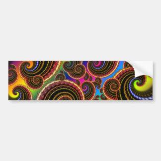 Funky Rainbow Swirl Fractal Art Pattern Bumper Sticker