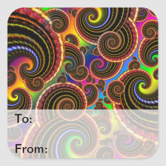 Funky Rainbow Swirl Fractal Art Pattern Gift Tags Square Stickers