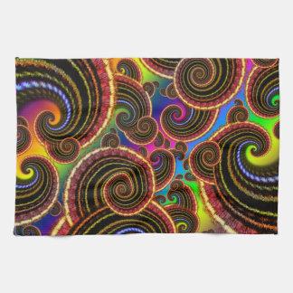 Funky Rainbow Swirl Fractal Art Pattern Hand Towels