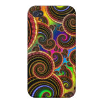 Funky Rainbow Swirl Fractal Art Pattern iPhone 4/4S Covers