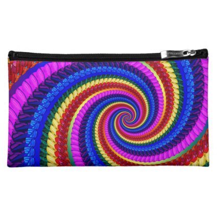 Funky Rainbow Swirl Fractal Art Pattern Makeup Bag