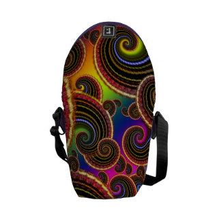 Funky Rainbow Swirl Fractal Art Pattern Courier Bags