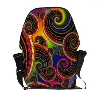 Funky Rainbow Swirl Fractal Art Pattern Messenger Bags